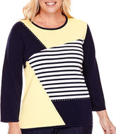 Alfred Dunner Sausilito 3/4-Sleeve Colorblock Sweater - Plus