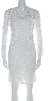 Paule Ka White Multi Lace Long Sleeve Shift Dress M