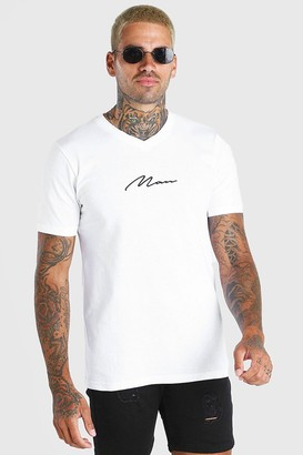 boohoo Mens White MAN Signature V Neck T-Shirt, White