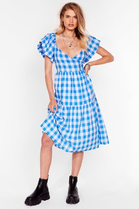 Nasty Gal Womens It's a Picnic Gingham Midi Dress - Blue - 8, Blue