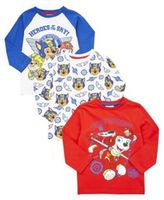 Character Nickelodeon 3 Pack of Paw Patrol Long Sleeve T-Shirts, Kids Unisex