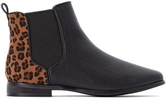 La Redoute Collections Plus Wide Fit Chelsea Ankle Boots with Leopard Print Back