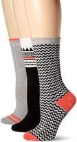 Timberland Women's Geo Pattern Crew Sock 3 Pk