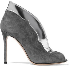 Gianvito Rossi Vamp Suede And Metallic Leather Ankle Boots