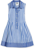 Milly Minis Sleeveless Striped Chambray Shirtdress, Size 2-7