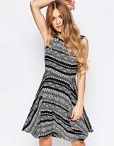 Liquorish Skater Dress In Geo Print Wiith Lace Back