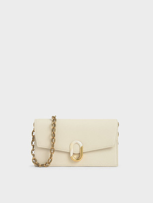 Charles & Keith Stone-Embellished Envelope Wallet