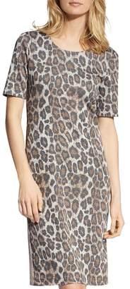 Basler Short-Sleeve Animal-Print Dress