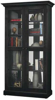 Howard Miller Lennon II Modern Rustic, Country Cottage, Rich Black Solid Wood, Tall, 5-Shelf Living Room Curio Cabinet