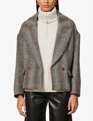 Sessun Short pea coat in heathered fancy tweed