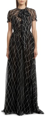 Valentino Bias Check Silk Chiffon Gown
