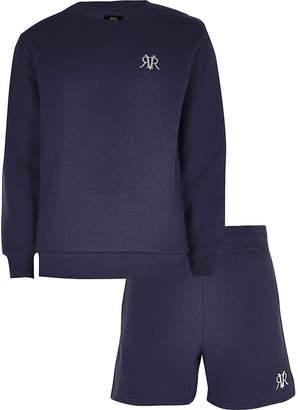 River Island Boys navy RVR sweatshirt outfit