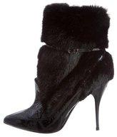 Oscar de la Renta Mink-Trimmed Patent Leather Ankle Boots