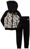 Juicy Couture Faux Fur Animal Print Fleece Hoodie & Pant Set (Toddler Girls)