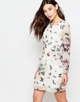 Yumi Long Sleeve Shift Dress In Garden Butterfly Print