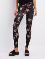 Charlotte Russe Floral High-Rise Ponte Knit Leggings