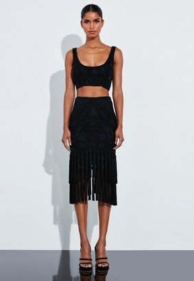 Missguided Black Beaded Embellished Fringe Midi Skirt