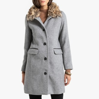Anne Weyburn Long Single-Breasted Coat with Faux Fur Collar and Pockets