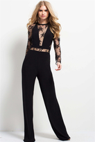 Jovani 48038 Lace Sheer Long Sleeves Jumpsuit