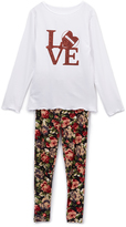 Beary Basics White & Red 'Love' Football Tee & Rose Leggings - Toddler & Girls