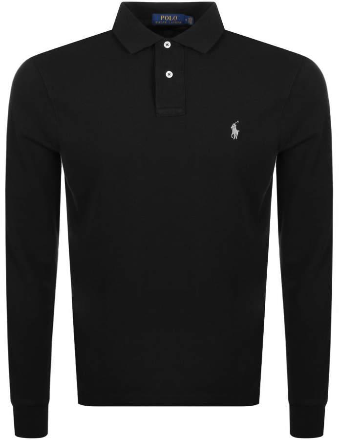 Long Sleeved Polo Black T Shirt H2E9IDW