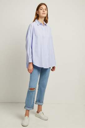 French Connection Rhodes Poplin Ticking Stripe Pop Over Shirt