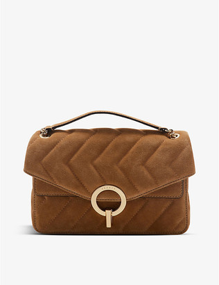 Sandro YZA quilted suede shoulder bag