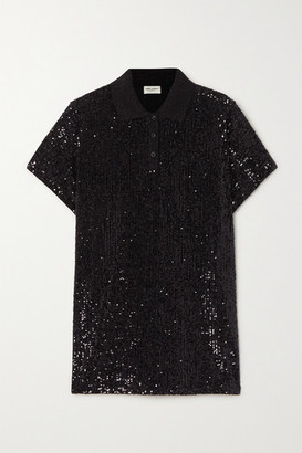 Saint Laurent Sequined Cotton-blend Jersey Polo Shirt - Black