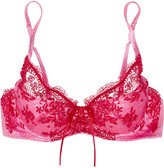 Mimi Holliday Embroidered lace and satin underwired plunge bra