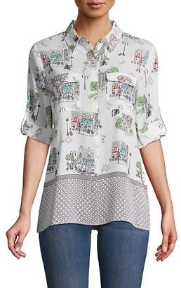 Karl Lagerfeld Paris Mixed Print Long-Sleeve Shirt