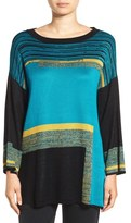 Ming Wang Colorblock Boatneck Tunic Sweater