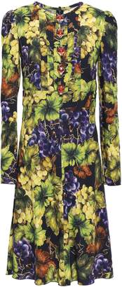 Dolce & Gabbana Button-embellished Printed Stretch-crepe Dress