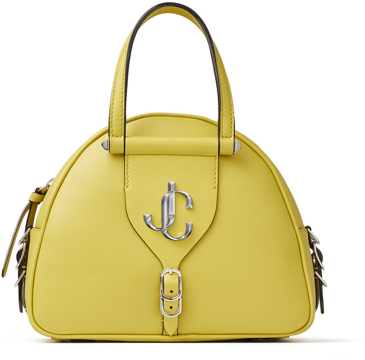 Jimmy Choo VARENNE BOWLING/S Citrus Calf and Vacchetta Leather Bowling Bag with Gold JC Logo