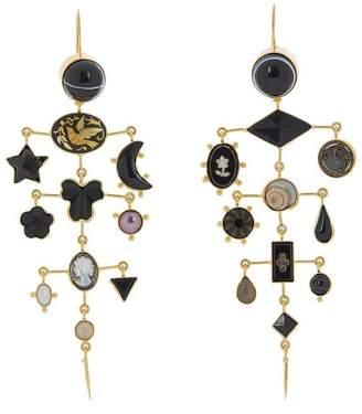 Grainne Morton Gold-Plated Asymmetric Multi-Stone Chandelier Victorian Drop Earrings
