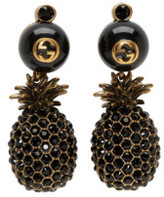 Gucci Gold and Black Pineapple Pearl Earrings