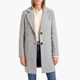 Only Single-Breasted Straight Cut Coat with Tailored Collar