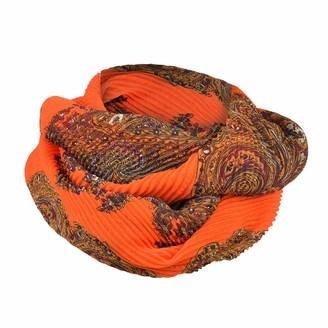 Deloito Women Scarves & Wraps Deloito Fashion Bohemian Print Infinity Scarf Soft Chiffon Scarves Lightweight Loop Scarf (Orange)