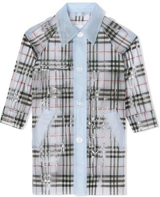 BURBERRY KIDS Check-Print Waterproof Trench Coat