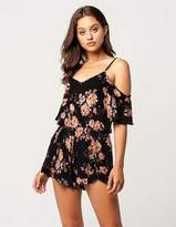 Full Tilt Floral Cold Shoulder Womens Romper