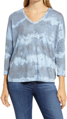 Wit & Wisdom Tie Dye V-Neck Sweater