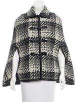 Rachel Zoe Lightweight Leather-Trimmed Wool Cape w/ Tags
