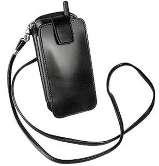 Fontanelli Black Leather Cellphone Holder