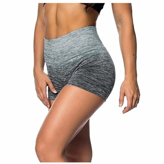 Buyao Tie Dye Printed Yoga Shorts for Women High Waisted Workout Running Shorts Tummy Control Athletic Shorts Pants (Gray S)