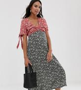Asos DESIGN Maternity mixed floral print twist front midi tea dress