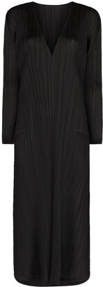 Pleats Please Issey Miyake V-neck plisse midi dress