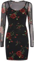 Oh My Love **Mesh Floral Print Bodycon Dress