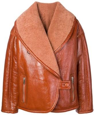 Drome oversized collar shearling jacket