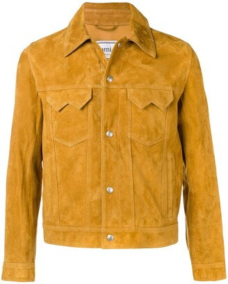Ami Paris Suede Buttoned Jacket With Chest Pockets