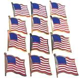 FindingKing 12 American Flag Waving Lapel Pins U.S.A. United States