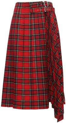 Noir Kei Ninomiya Pleated Wool Blend Tartan Midi Skirt